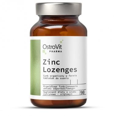 OstroVit Pharma Zinc Lozenges 90 таблеток, глюконат цинку з вітаміном С у вигляді пастилок, з лимонно-м'ятним ароматом